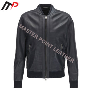 Black Leather Bomber Jacket